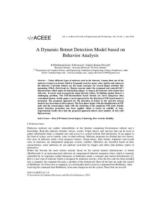 Int. J. on Recent Trends in Engineering and Technology, Vol. 10, No. 1, Jan 2014  A Dynamic Botnet Detection Model based o...
