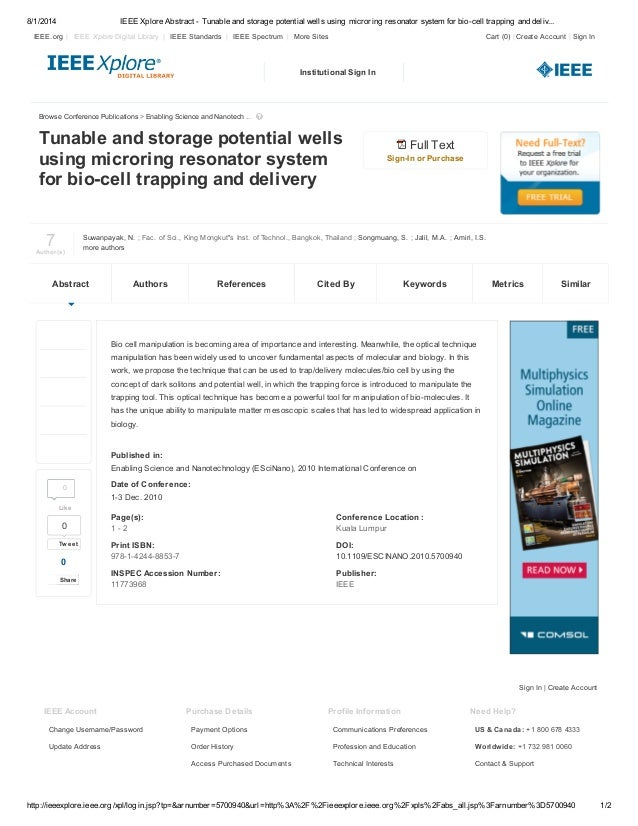 8/1/2014 IEEE Xplore Abstract - Tunable and storage potential wells using microring resonator system for bio-cell trapping...