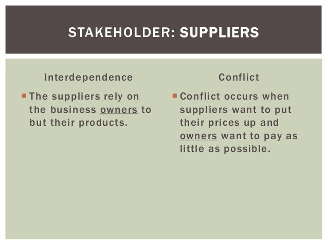 In a narrow sense, stakeholders include stockholders, customers, employees, suppliers, the local community and Government. In a wider sense this could also include the environment; future employees, suppliers, and customers; and could also include the nation and beyond.