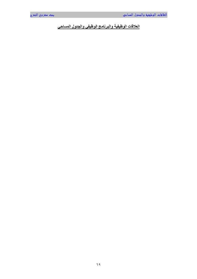 المساحي والجدول الوظيفية العالقاتالتخرج مشروع بحث 96 الوظيفية العالقاتالوظيفي والبرنامجالمساحي وا...