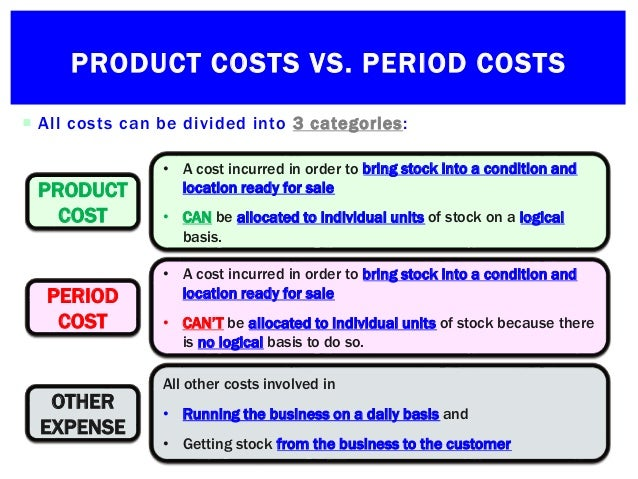 identifying product and period costs Costs are classified into product costs and period costs on the basis of whether they are capitalized to the cost of products produced or not.