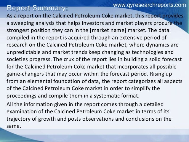 Global Calcined Petroleum Coke Industry Summary and