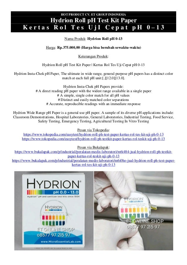 HOT PRODUCT CV. ET GROUP INDONESIA Hydrion Roll pH Test Kit Paper K e r t a s R o l T e s U j I C e p a t p H 0 – 1 3 Nama...