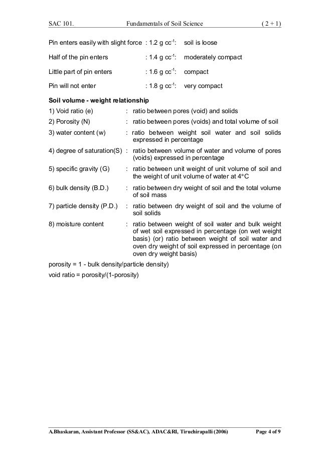 Specific gravity of soil particles table for Soil particles definition