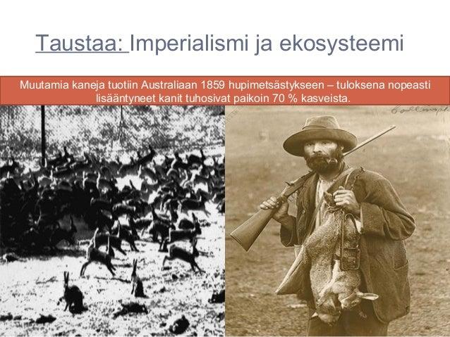Taustaa: Imperialismi ja ekosysteemiMuutamia kaneja tuotiin Australiaan 1859 hupimetsästykseen – tuloksena nopeasti       ...