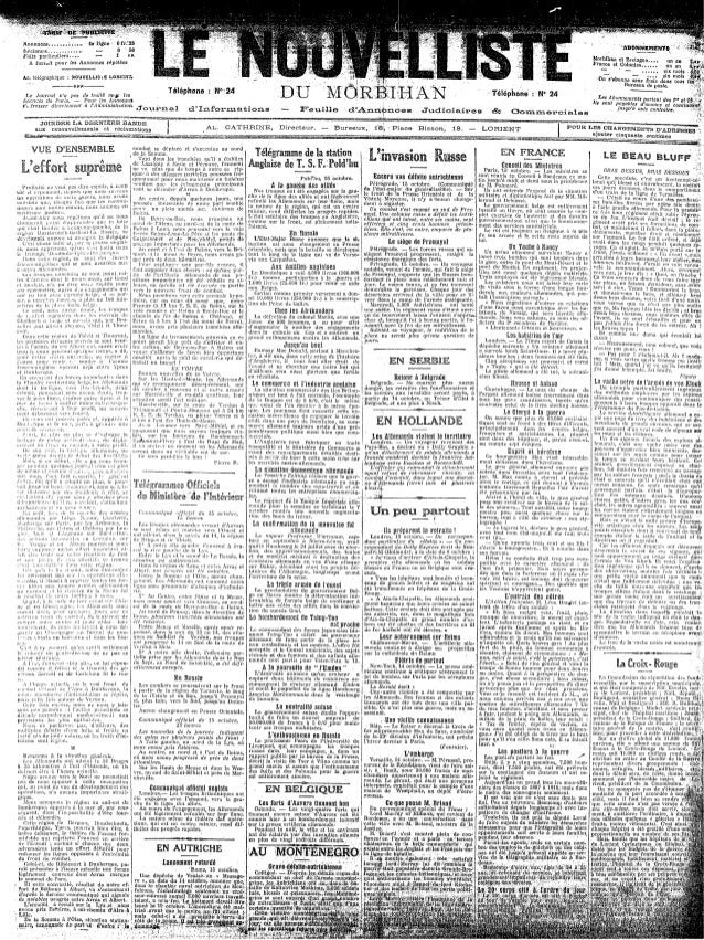 Le Nouvelliste du Morbihan - du 18 au 25 octobre 1914