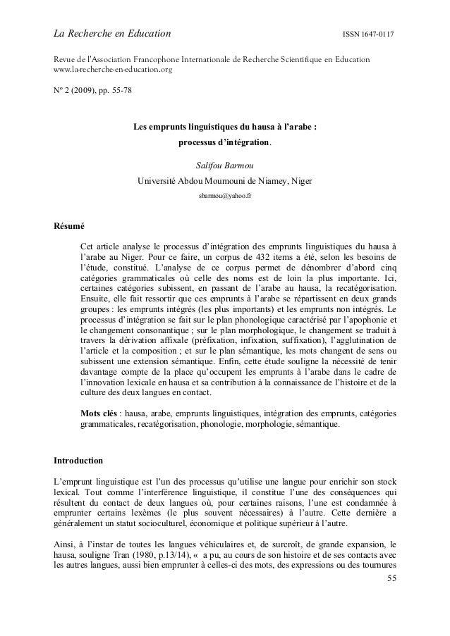 La Recherche en Education  ISSN 1647-0117  Revue de l'Association Francophone Internationale de Recherche Scientifique en ...