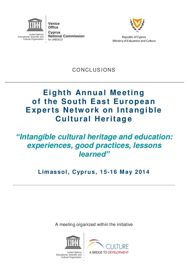 Republic of Cyprus Ministry of Education and Culture CONCLUSIONS Eighth Annual Meeting of the South East European Experts ...