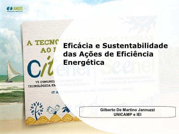 Eficácia e Sustentabilidade das Ações de Eficiência Energética Gilberto De Martino Jannuzzi UNICAMP e IEI