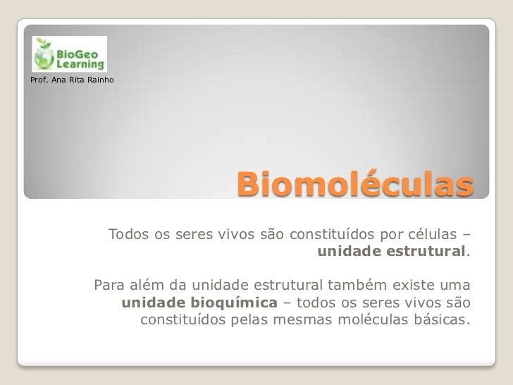 Prof. Ana Rita Rainho                                    Biomoléculas                   Todos os seres vivos são constituí...