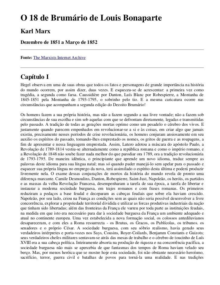 O 18 de Brumário de Louis Bonaparte Karl Marx Dezembro de 1851 a Março de 1852  Fonte: The Marxists Internet Archive    Ca...