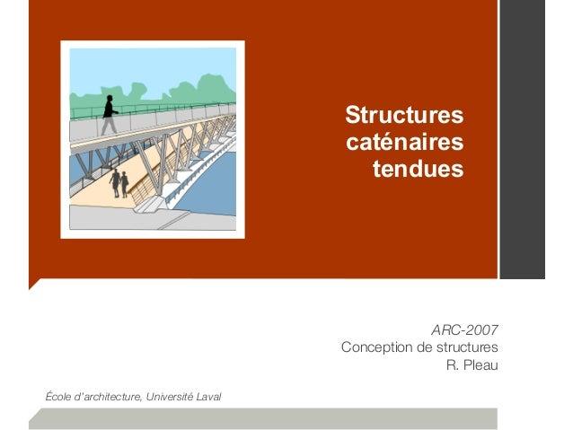 Structures caténaires tendues ARC-2007 Conception de structures R. Pleau École d'architecture, Université Laval