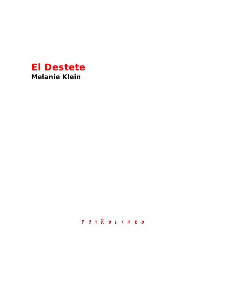 El DesteteMelanie Klein