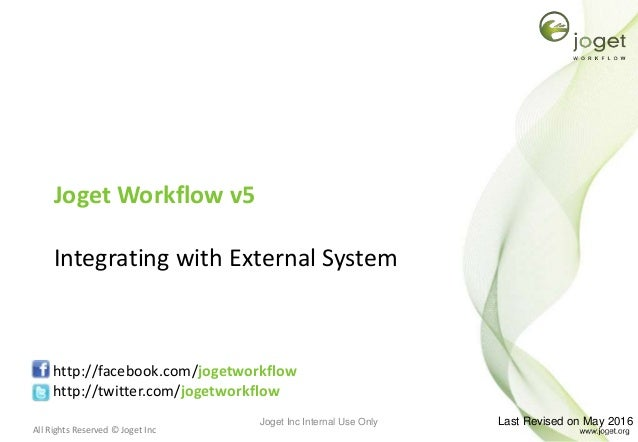 All Rights Reserved © Joget Inc Joget Workflow v5 Integrating with External System http://facebook.com/jogetworkflow http:...