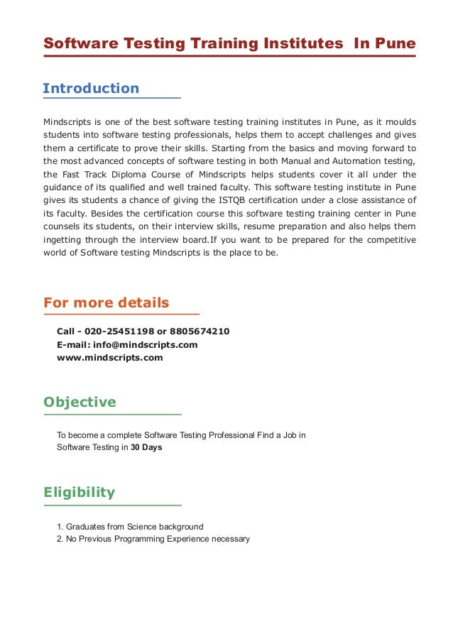 testing software certification pune course institutes training pradhikaran nigdi qtp classes pimpri chinchwad