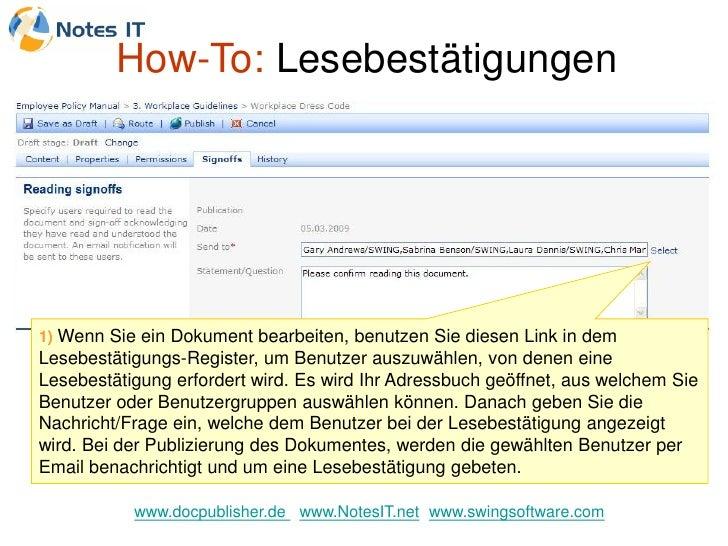 How-To: Lesebestätigungen     1) Wenn Sie ein Dokument bearbeiten, benutzen Sie diesen Link in dem Lesebestätigungs-Regist...