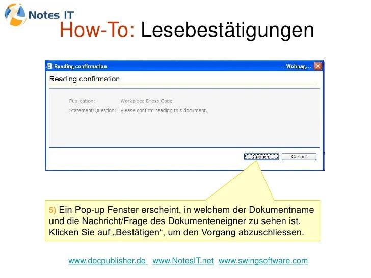 How-To: Lesebestätigungen     5) Ein Pop-up Fenster erscheint, in welchem der Dokumentname und die Nachricht/Frage des Dok...