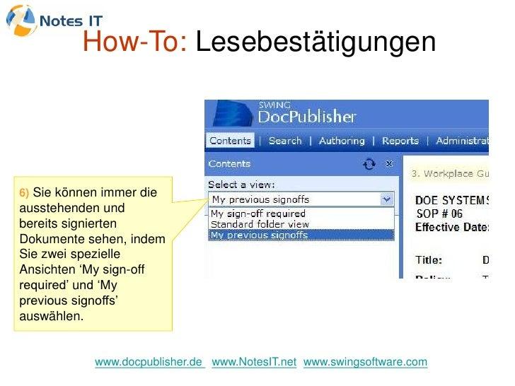 How-To: Lesebestätigungen     6) Sie können immer die ausstehenden und bereits signierten Dokumente sehen, indem Sie zwei ...