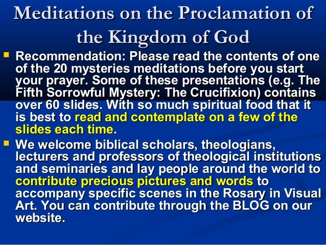 Meditations on the Proclamation of          the Kingdom of God   Recommendation: Please read the contents of one    of th...