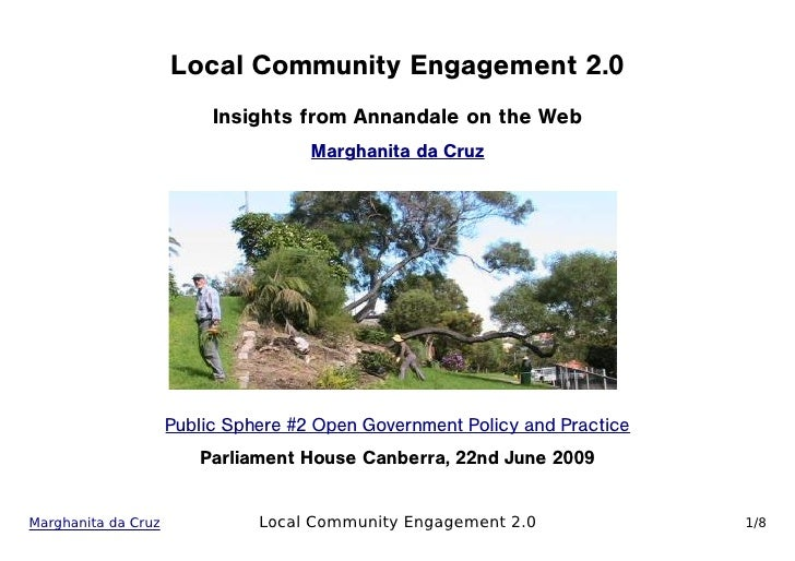 Local Community Engagement 2.0                           Insights from Annandale on the Web                               ...