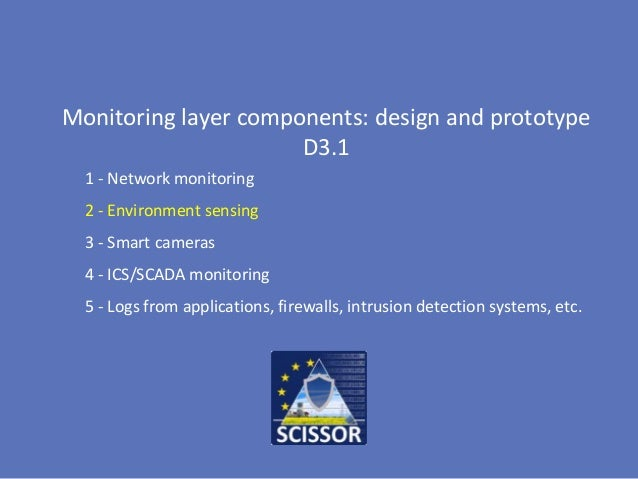 Monitoring layer components: design and prototype D3.1 1 - Network monitoring 2 - Environment sensing 3 - Smart cameras 4 ...
