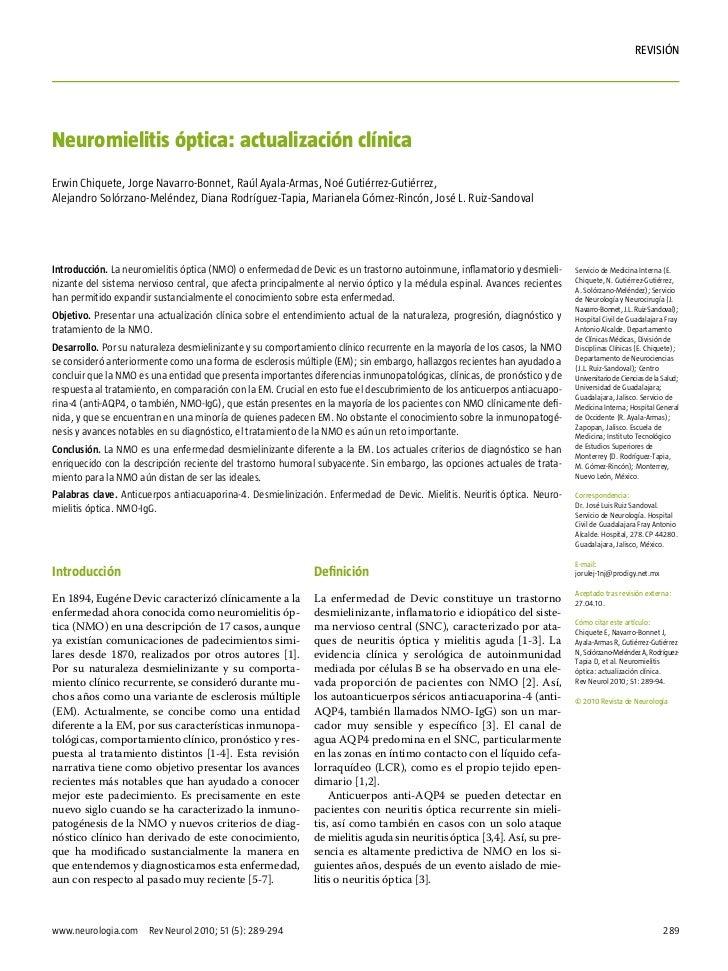 rEVISIÓNNeuromielitis óptica: actualización clínicaErwin Chiquete, Jorge Navarro-Bonnet, Raúl Ayala-Armas, Noé Gutiérrez-G...