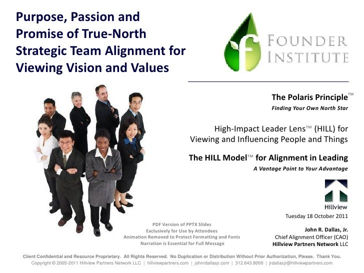 Purpose, Passion andPromise of True-NorthStrategic Team Alignment forViewing Vision and Values                            ...