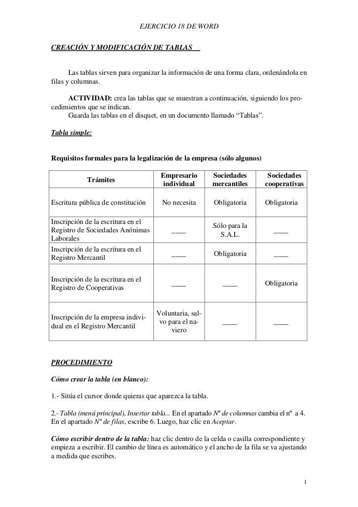 EJERCICIO 18 DE WORDCREACIÓN Y MODIFICACIÓN DE TABLAS       Las tablas sirven para organizar la información de una forma c...