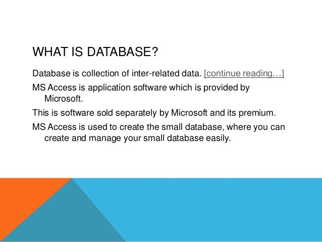 ms access project database