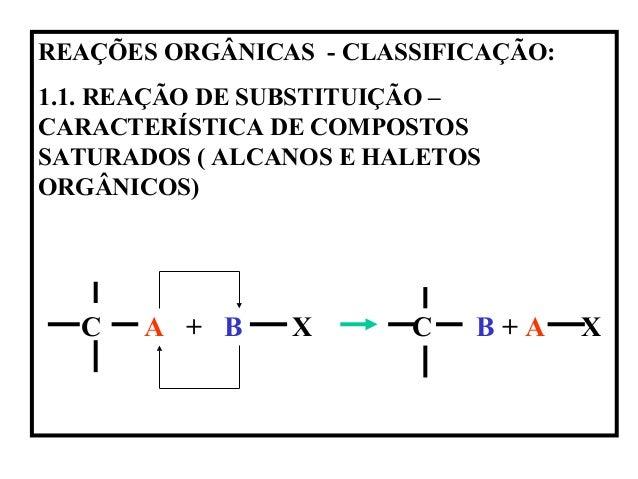 REAÇÕES ORGÂNICAS - CLASSIFICAÇÃO: 1.1. REAÇÃO DE SUBSTITUIÇÃO – CARACTERÍSTICA DE COMPOSTOS SATURADOS ( ALCANOS E HALETOS...