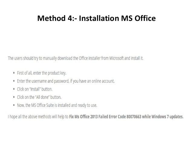 Fix Ms Office 2013 Failed Error Code 80070663 While