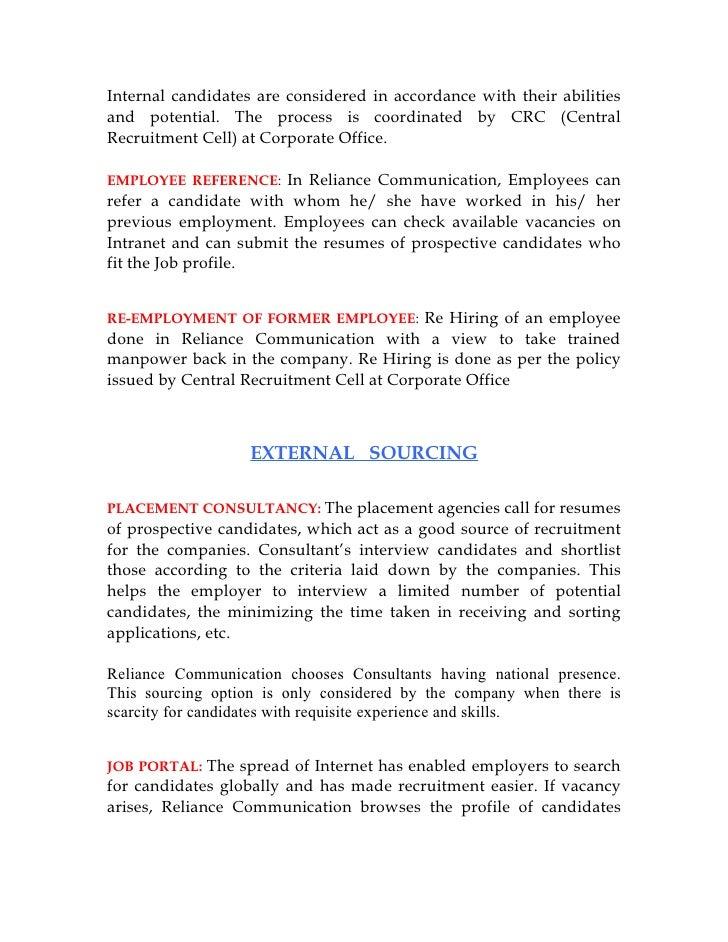 Internal environment of reliance communications