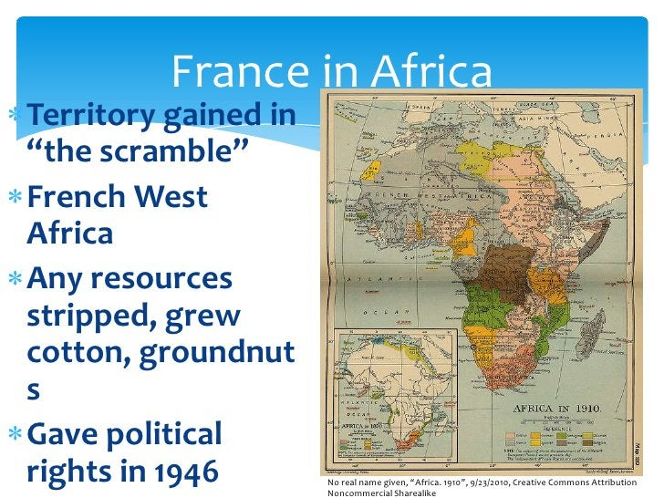 """Territory gained in """"the scramble""""<br />French West Africa<br />Any resources stripped, grew cotton, groundnuts<br />Gave ..."""