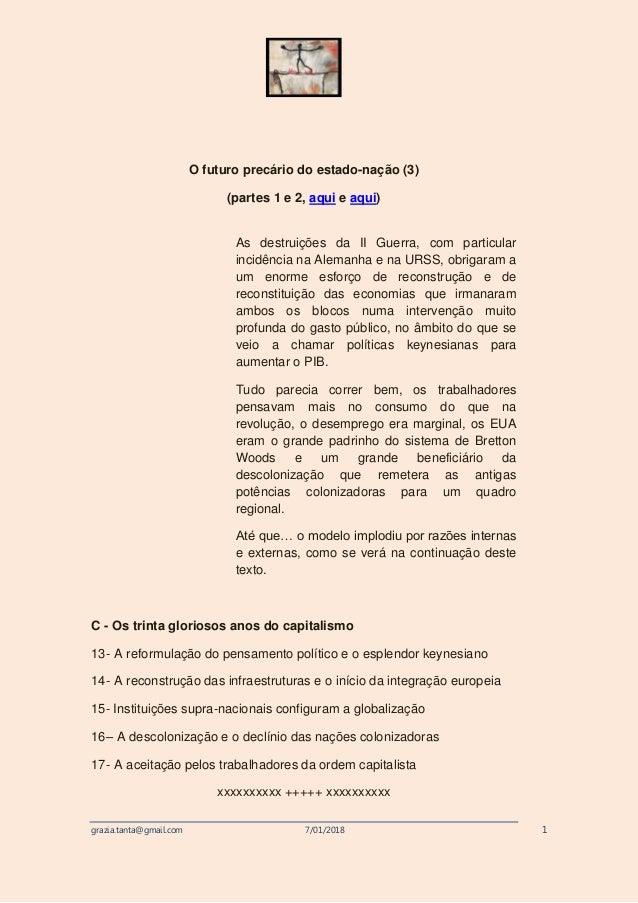 grazia.tanta@gmail.com 7/01/2018 1 O futuro precário do estado-nação (3) (partes 1 e 2, aqui e aqui) As destruições da II ...