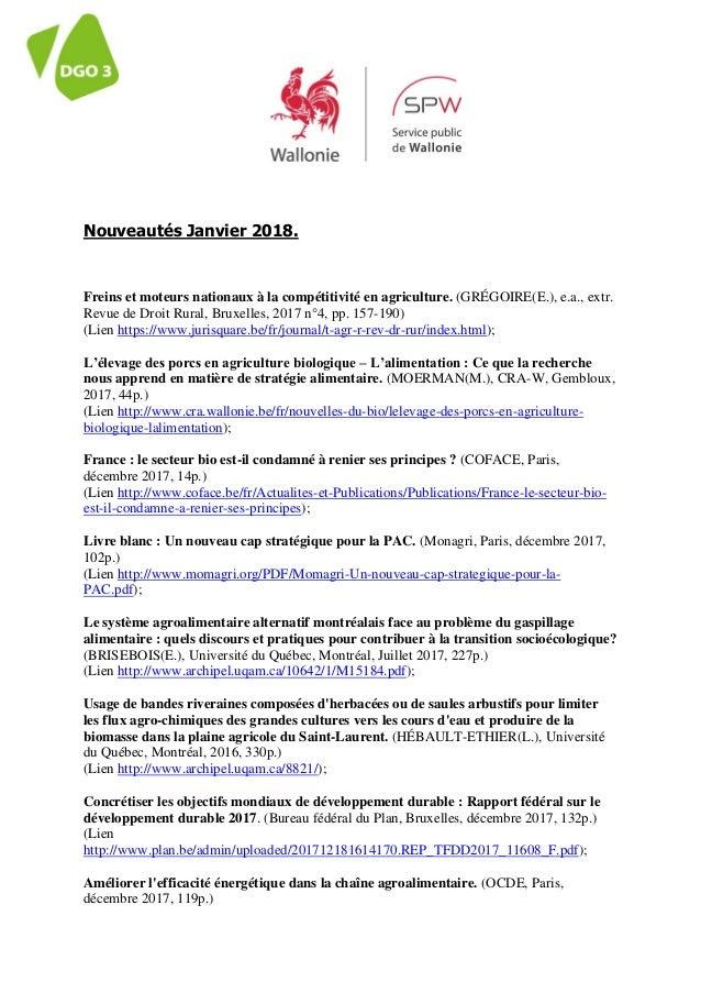 Nouveautés Janvier 2018. Freins et moteurs nationaux à la compétitivité en agriculture. (GRÉGOIRE(E.), e.a., extr. Revue d...