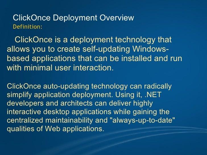 ClickOnce Deployment Seminar