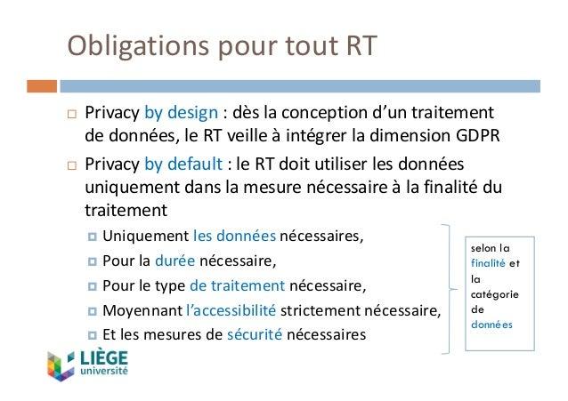 ObligationspourtoutRT ¨ Privacy bydesign:dèslaconceptiond'untraitement dedonnées,leRTveilleàintégrerlad...