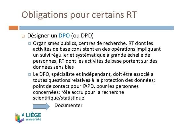 ObligationspourcertainsRT ¨ DésignerunDPO (ouDPD) ¤ Organismespublics,centresderecherche,RTdontles activités...