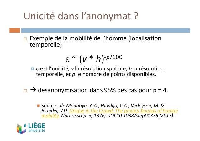 Unicitédansl'anonymat ? ¨ Exempledelamobilitédel'homme(localisation temporelle) e ~(v *h)-p/100 ¤ e estl'unici...