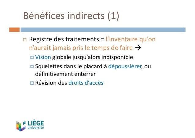 Bénéficesindirects(1) ¨ Registredestraitements=l'inventairequ'on n'auraitjamaisprisletempsdefaireà ¤ Vision...