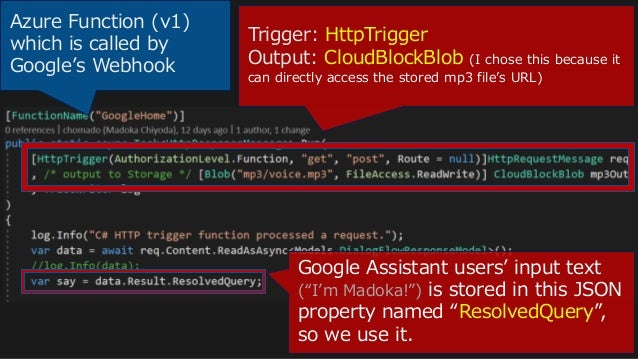Google Assistant app (Actions on Google) with Microsoft Azure Functio…
