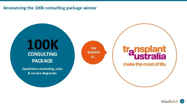 20 Announcing the 100k consulting package winner THE WINNER IS… Qualitative marketing, sales & service diagnostic 100KCONS...