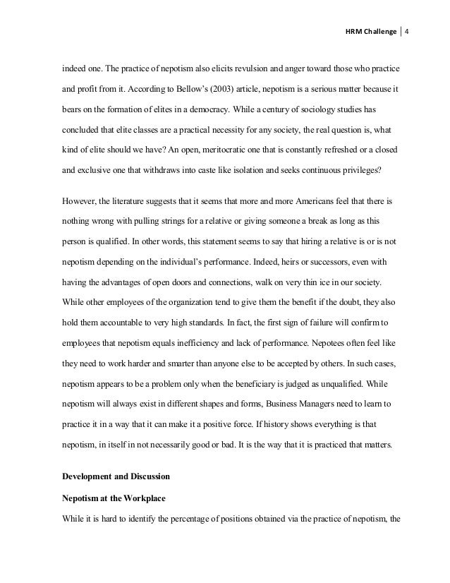 Nepotism essay