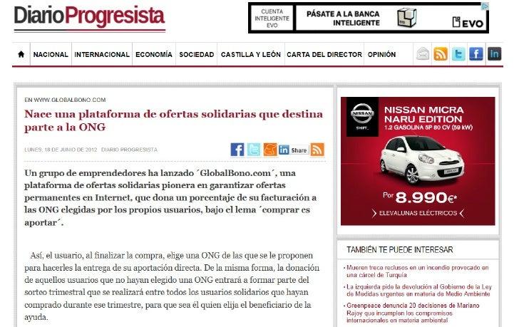 GlobalBono en Diario Progresista 18 julio 2012