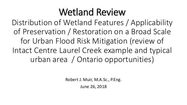 Wetland Review Distribution of Wetland Features / Applicability of Preservation / Restoration on a Broad Scale for Urban F...