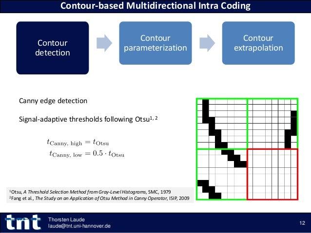 Contour detection Contour parameterization Contour extrapolation Contour-based Multidirectional Intra Coding 12 Thorsten L...