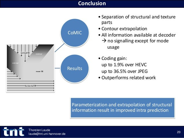 • Separation of structural and texture parts • Contour extrapolation • All information available at decoder  no signallin...