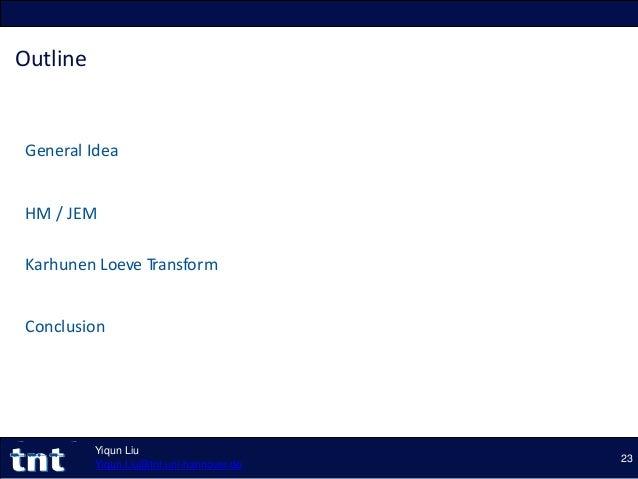 Outline General Idea HM / JEM Karhunen Loeve Transform Conclusion 23 Yiqun Liu Yiqun.Liu@tnt.uni-hannover.de