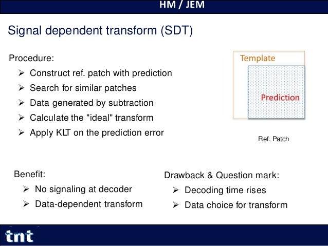 HM / JEM 25 Yiqun Liu Yiqun.Liu@tnt.uni-hannover.de Signal dependent transform (SDT) Procedure:  Construct ref. patch wit...