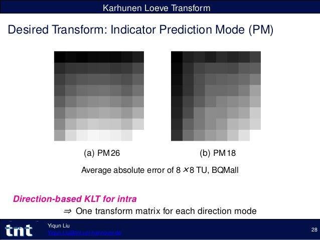 Karhunen Loeve Transform Desired Transform: Indicator Prediction Mode (PM) (a) PM26 (b) PM18 Average absolute error of 8×8...